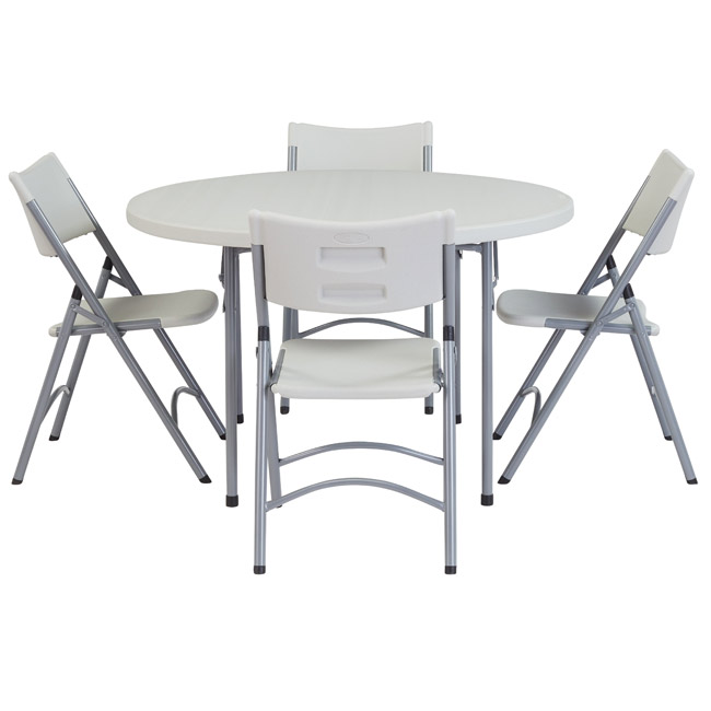 National Plastic Folding Table Chair Set 48 Round Folding