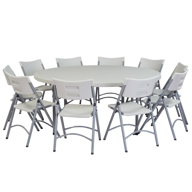 National Plastic Folding Table Chair Set 71 Round Folding Table With 8 Folding Chairs Bt71r 1 602 8 Packaged Tables And Chairs Worthington Direct