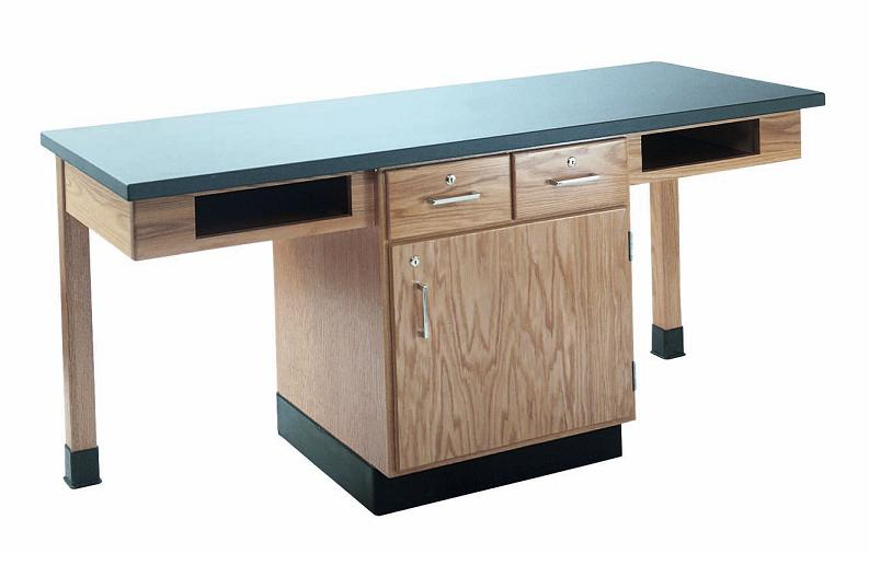 c2204k-twostudent-science-table-w-2-book-compartments-phenolic-resin-top-w-door-drawers