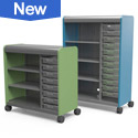 Cascade combo cabinets with tote tray and open shelf storage for classroom, office and makerspace!