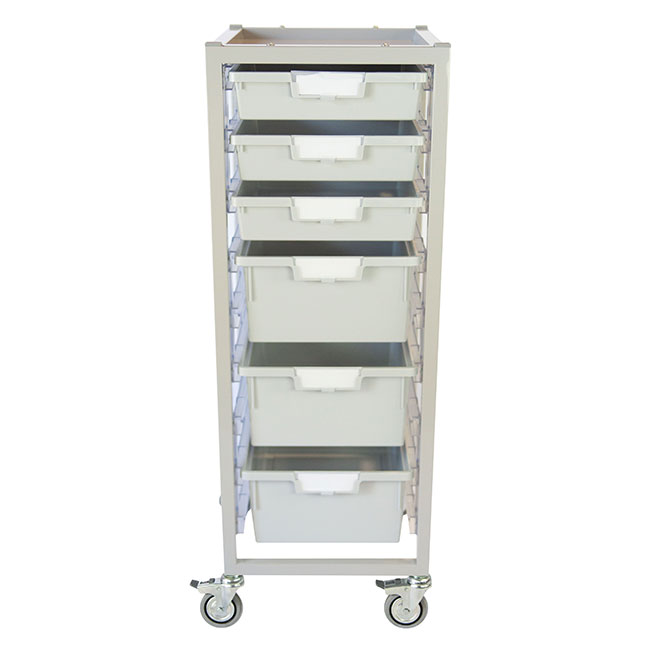 antimicrobial-nimble-tower-cart-3-single-depth-3-double-depth-trays-light-gray
