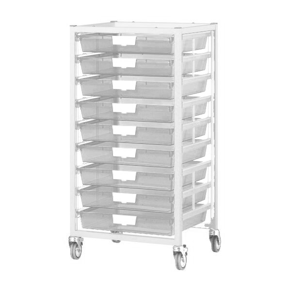 antimicrobial-nimble-tower-cart-9-single-depth-trays-clear