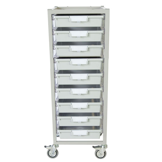 antimicrobial-nimble-tower-cart-9-single-depth-trays-light-gray