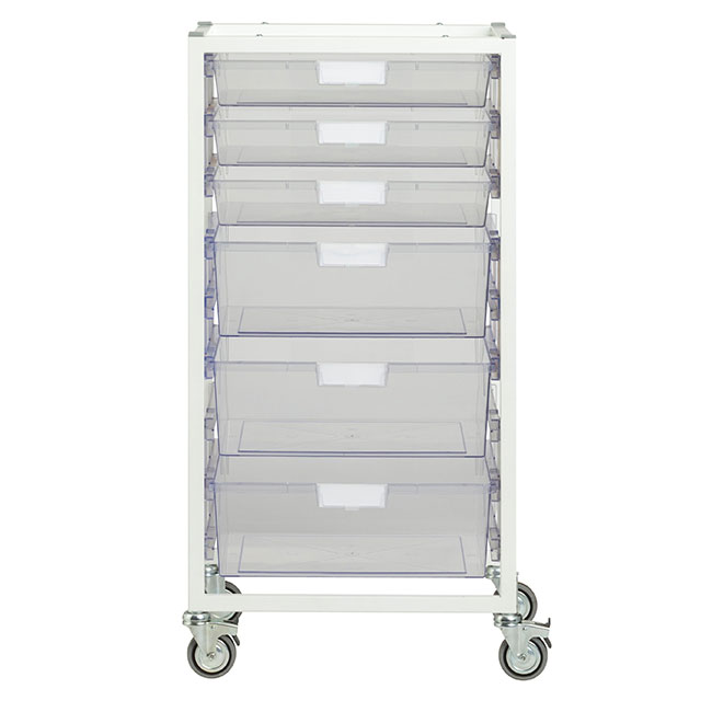 antimicrobial-nimble-wide-tower-cart-3-single-depth-3-double-depth-trays-clear