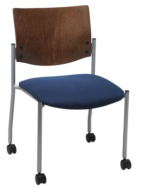 Kfi Seating Armless Chair W Casters & Wood Back