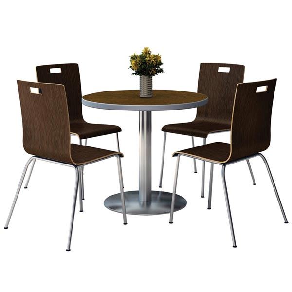 Silver Base Cafe 36 Round Table With Four Jive Stack Chairs By Kfi Seating T36rd Xx 9222 Xx Stock 97495