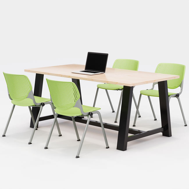 midtown-rectangle-cafe-table-with-kool-seating-package-by-kfi