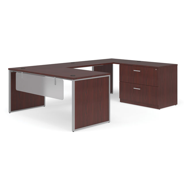 ful-pkg-3069-fulcrum-u-shaped-desk-with-bridge-credenza-and-lateral-filing-cabinet-66-desk-with-leg-modesty-panels