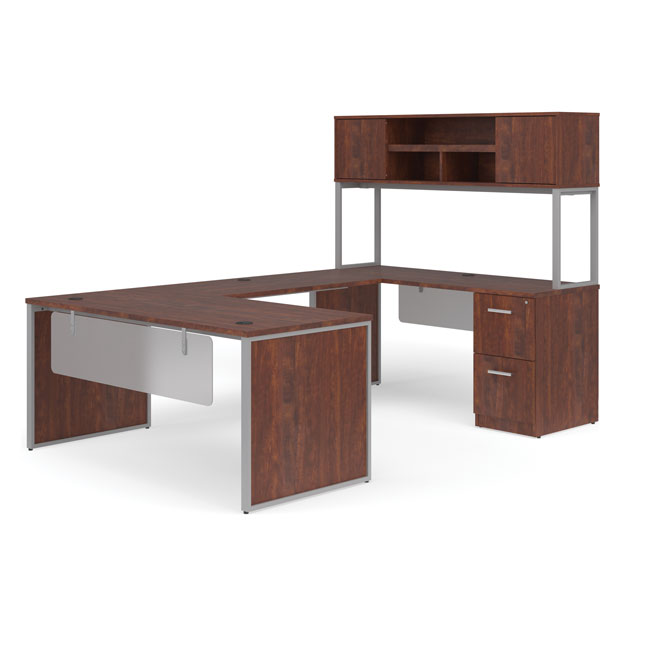 fulcrum-u-shaped-desk-with-bridge-hutch-credenza-and-pedestal-filing-cabinet-by-ofm