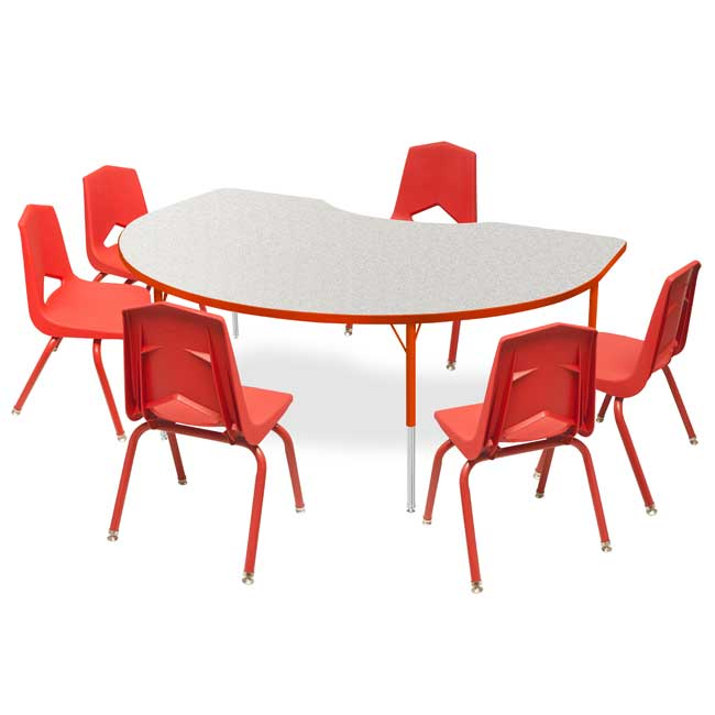 """Marco Group Kidney Activity Table & Six 12"""" Stack Chair ..."""
