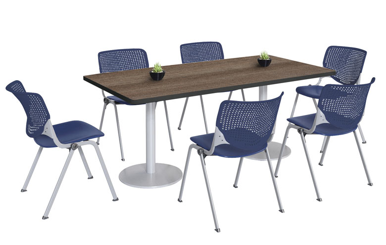 tr3672ra-b19222300slx4-silver-base-cafe-table-with-six-kool-stack-chairs-36-x-72-rectangle