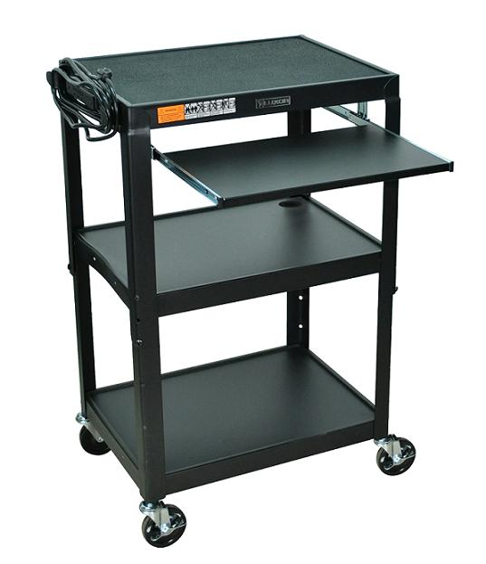adjustable-height-metal-cart-w-keyboard-by-luxor