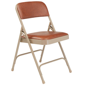 1203-brown-vinyl-beige-frame-18-gauge-steel-padded-folding-chair-with-double-hinge