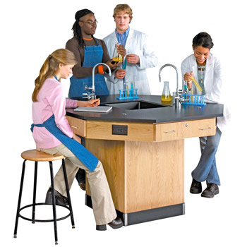 1516k-octagon-lab-workstation-54-diameter-pedestal-base-with-sink