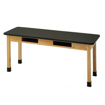 c7606k30n-24d-x-60w-sold-epoxy-resin-top-oak-science-table-with-book-compartments