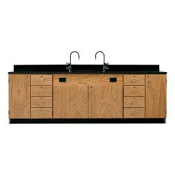 3236k-wall-service-bench-w-storage-cabinets-eight-drawers-solid-epoxy-top