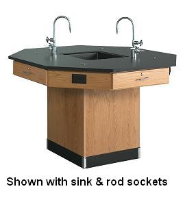 1616k-octagon-lab-workstation-60-diameter-pedestal-base-with-sink