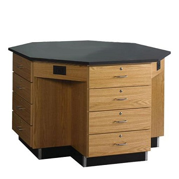 1546kf-octagon-lab-workstation-drawer-base-w-flat-top-54-diameter