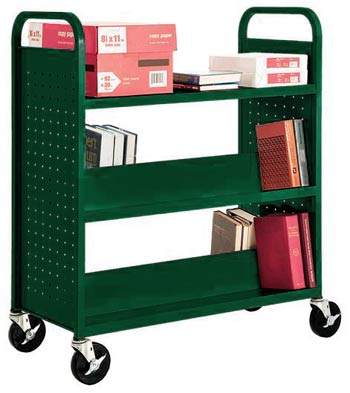 sfv336-book-truck-with-4-slant-shelves-and-flat-top-shelf