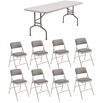 Peachy Folding Rectangle Table With Eight Padded Folding Chairs Download Free Architecture Designs Ogrambritishbridgeorg
