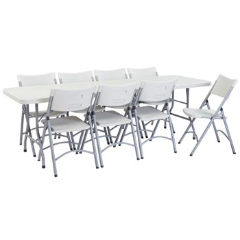 National Plastic Folding Table Chair Set 30 X 96 Rectangle Folding Table With 8 Folding Chairs Bt3096 1 602 8 Packaged Tables And Chairs Worthington Direct