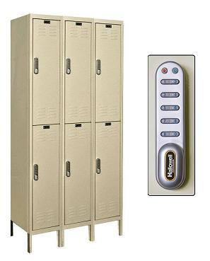 uel3258-2-digitech-double-tier-3-wide-lockers-w-electronic-lock-unassembled-12-w-x-15-d-x-36-h