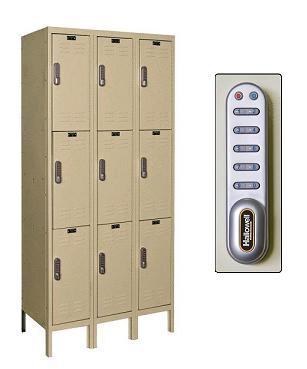 uel3288-3-digitech-triple-tier-3-wide-lockers-w-electronic-lock-unassembled-12-w-x-18-d-x-24-h