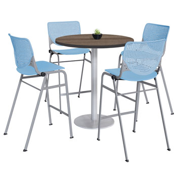 t42rd-b19225lbr2300-sl-silver-base-bar-height-cafe-table-with-four-kool-barstools-42-round