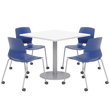 mode-square-cafe-table-with-4-lola-armless-stack-chairs-w-casters-by-kfi