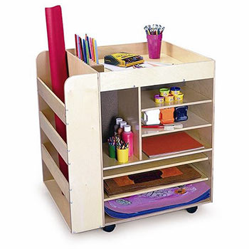 Rolling Art Room Cart for Art Supply Storage