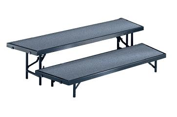 rtrp2c-66lx35dx16h-2-level-tapered-choral-riser-pewter-gray-carpet-surface-wblack-metal