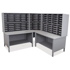 util0059-100-slot-corner-mailroom-sorter-w-shelves
