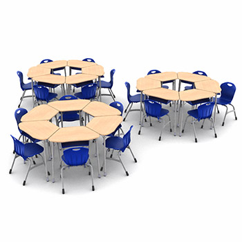 zuma-hexagon-classroom-desk-and-chair-package-18-zuma-desks-with-book-boxes-18-stack-chairs