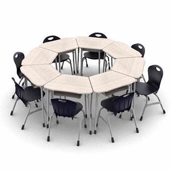 zuma-octagon-classroom-desk-and-chair-package-8-zuma-desks-with-book-boxes-13-stack-chairs