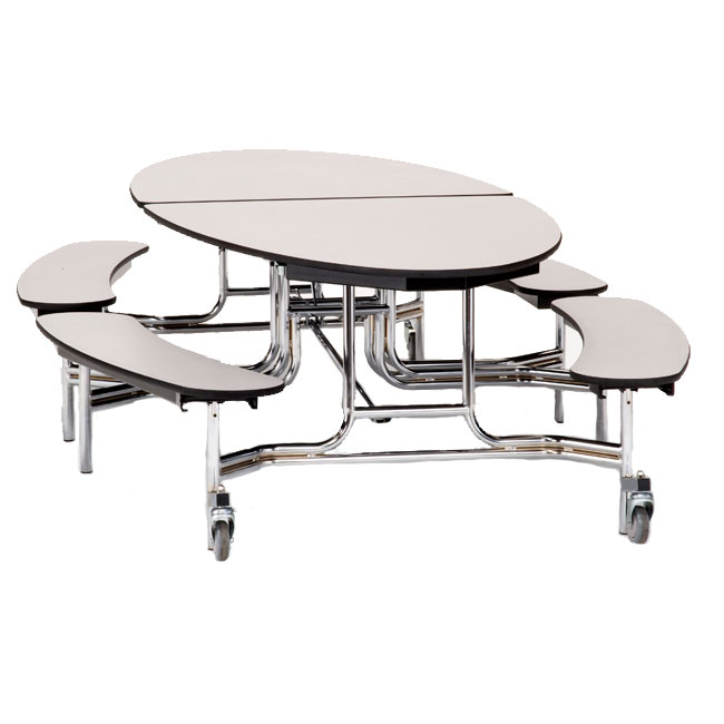 Metb Pbtmpc Elliptical Mobile Bench Cafeteria Table Particleboard
