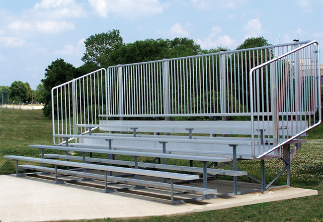nb-0521avpstd-5-row-standard-bleacher-with-vertical-picket-guardrail-single-foot-plank-70-seats