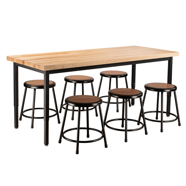 butcher-block-height-adjustable-table-30-x-72-with-6-black-frame-stools