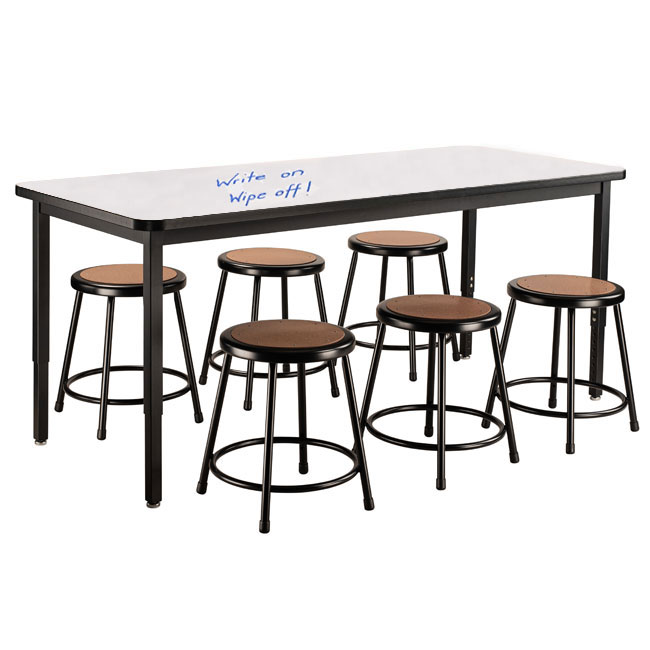 dry-erase-height-adjustable-table-30-x-72-with-6-black-frame-stools