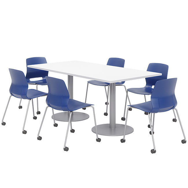silver-base-cafe-table-with-six-lola-armless-chairs-w-casters-36-x-72-rectangle
