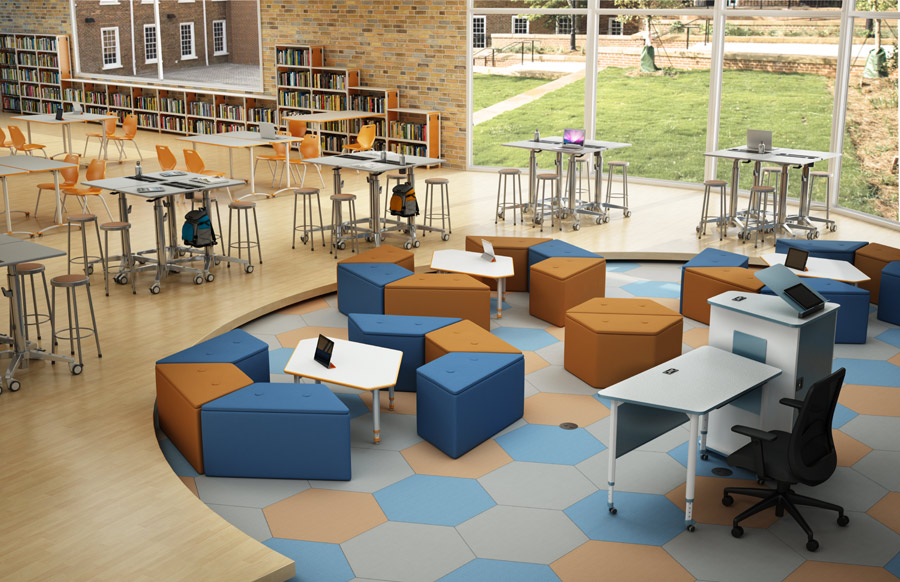 Blended learning space with Paragon Soft Seating and Crossfit Desks
