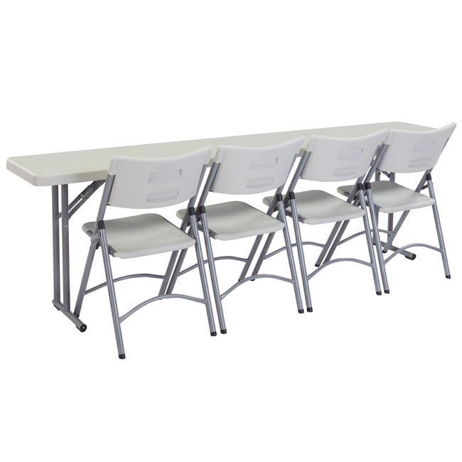 National Plastic Folding Table Chair Set 18 X 96 Seminar Folding Table With 4 Folding Chairs Bt1896 1 602 4 Packaged Tables And Chairs Worthington Direct