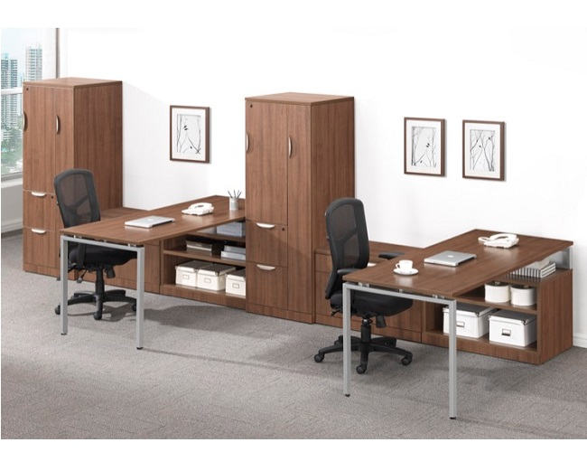 Two Person Office Desk Suite with Storage