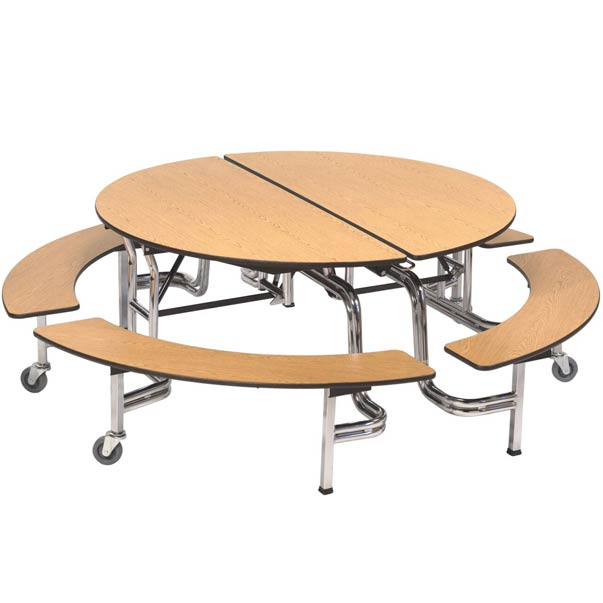 amtab mobile round cafeteria table with benches mbr604 cafeteria