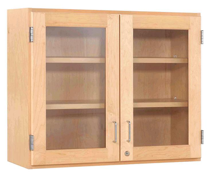 Maple Double Door Wall Cabinet 36 W Glass Doors