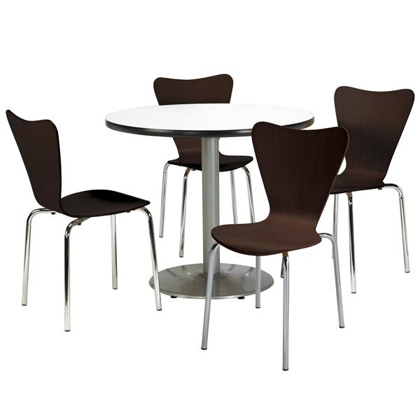 Silver Base Cafe Table with Four 3888 Stack Chairs- 42
