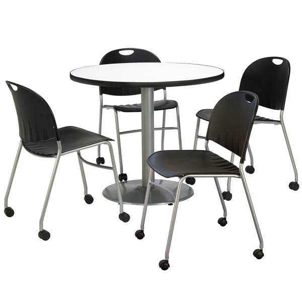 silver-base-cafe-table-four-mobile-stack-chair-36-round