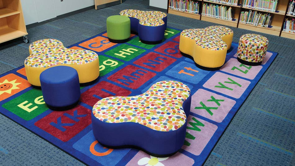 Classroom Carpets with Soft Seating are great for floor reading areas