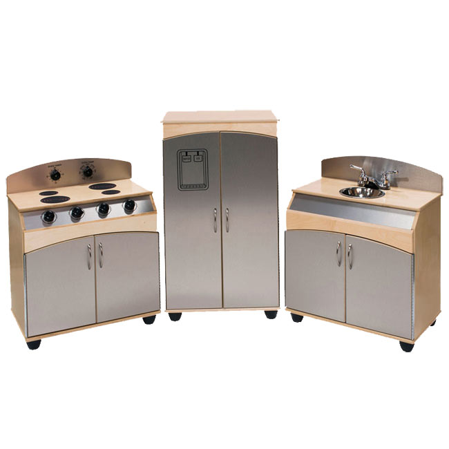 3 Piece Faux Stainless Steel Play Kitchen Set