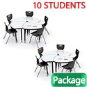 Click here for more 10-Pack Dry Erase Hierarchy Shapes Desk & Hierarchy Chair Package by Mooreco by Worthington