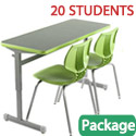 Classroom Set - 10 Silhouette Double Desks & 20 Flavors Chairs by Smith System